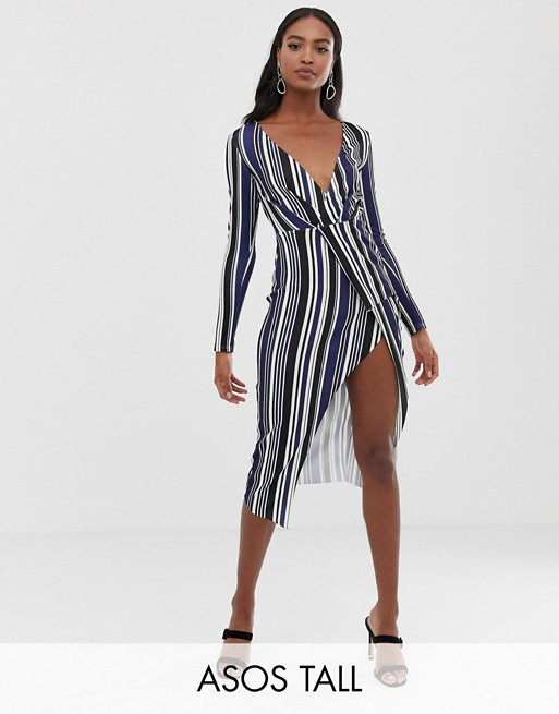 Image 1 of ASOS DESIGN tall long sleeve textured wrap midi dress in stripe