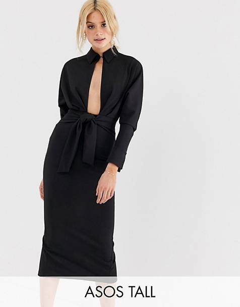 d81c171f91 ASOS DESIGN Tall long sleeve wrap shirt midi dress