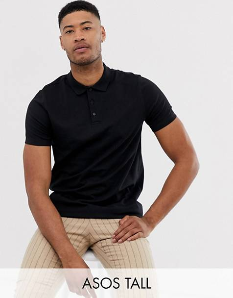ASOS DESIGN Tall longline jersey polo in black