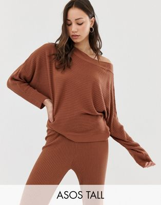 Image 1 of ASOS DESIGN Tall lounge knitted rib off shoulder sweat