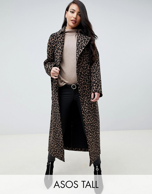 Image 1 of ASOS DESIGN Tall mac in animal print