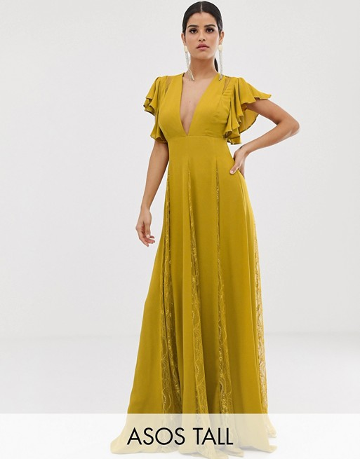 ASOS DESIGN Tall maxi dress with godet lace inserts