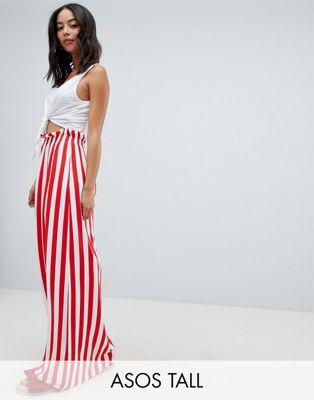 ASOS DESIGN Tall maxi skirt with paperbag waist in stripe