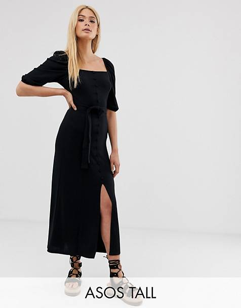 5719a71102 ASOS DESIGN Tall midi button through square neck dress with belt