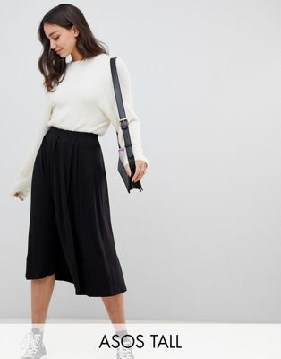 ASOS DESIGN tall midi skirt with box pleats