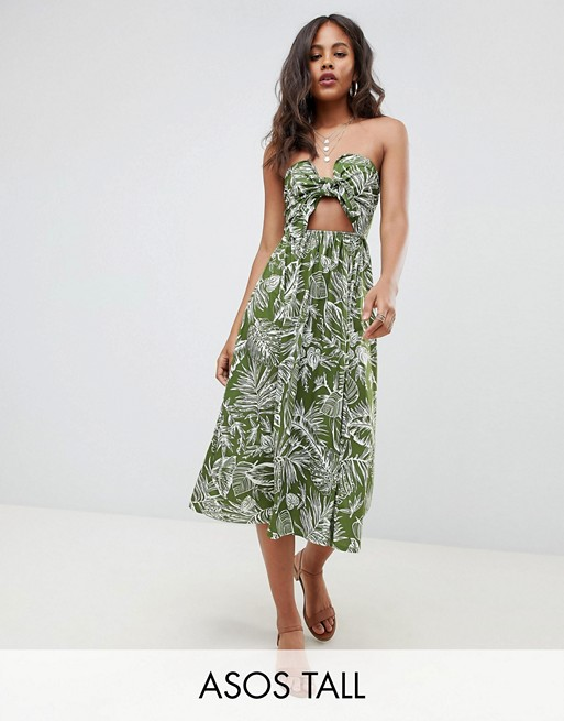 Image 1 of ASOS DESIGN Tall midi sundress with tie front in palm print