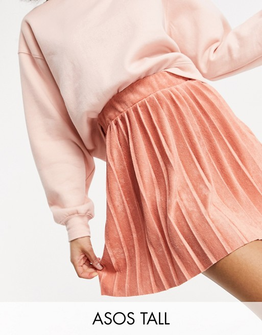 ASOS DESIGN Tall mini pleated terrycloth tennis skirt in deep blush