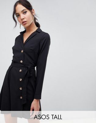 Image 1 of ASOS DESIGN Tall mini shirt dress with buttons
