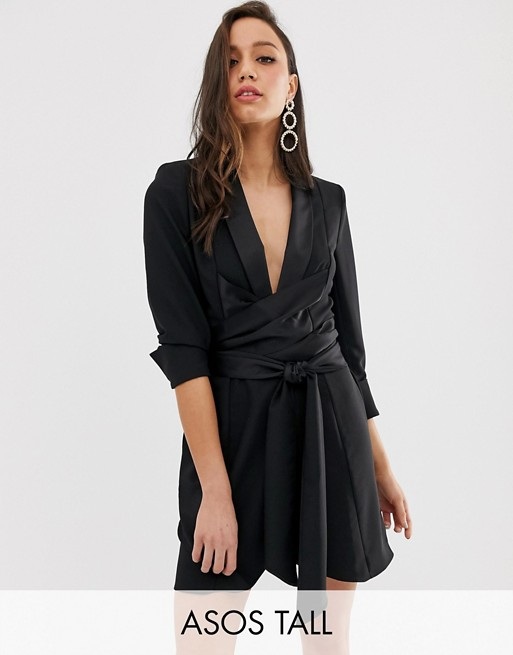 Image 1 of ASOS DESIGN Tall mini tux dress with self tie belt