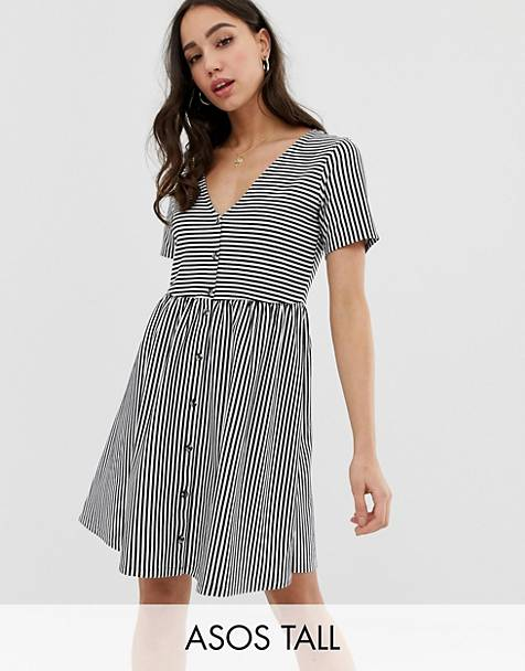 8aaf70b015 ASOS DESIGN Tall mini v neck button through smock dress in stripe