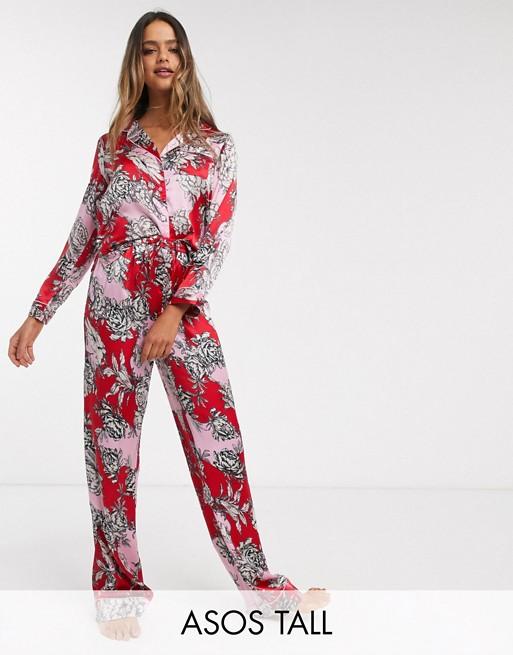 ASOS DESIGN Tall Mix & match Pantalon en satin à fleurs de couleurs vives