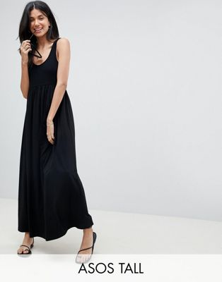 Image 1 of ASOS DESIGN Tall mixed fabric strappy maxi dress