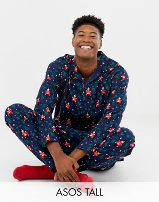 ASOS DESIGN TALL mr & mrs Christmas woven pyjama set with nutcracker design