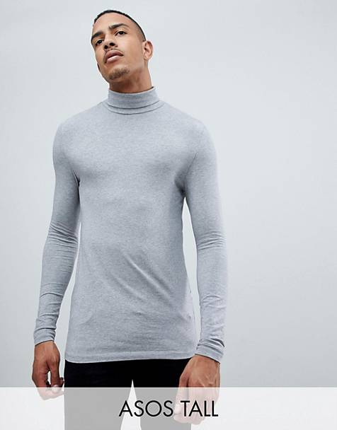 ASOS DESIGN Tall muscle fit long sleeve roll neck t-shirt in gray marl