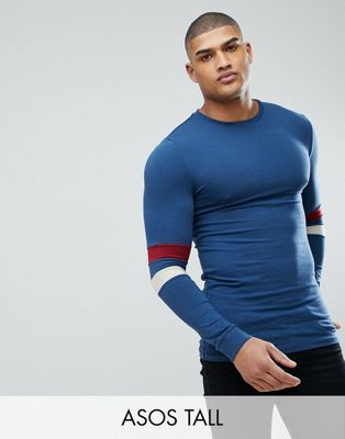 Image 1 of ASOS DESIGN Tall muscle fit Long Sleeve T-Shirt With Contrast Sleeve Panels