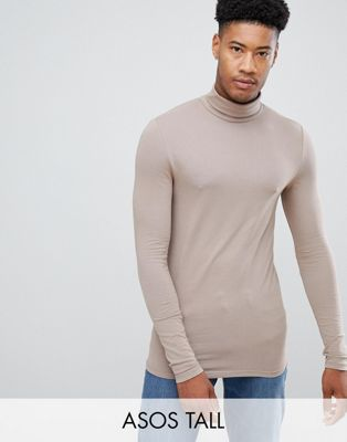 Image 1 of ASOS DESIGN Tall muscle fit long sleeve t-shirt with crew neck with roll neck in beige