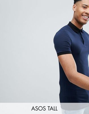ASOS DESIGN Tall muscle fit polo in jersey with contrast collar