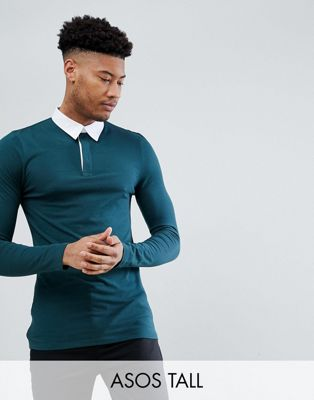 ASOS DESIGN Tall muscle fit rugby polo shirt with long sleeve in green
