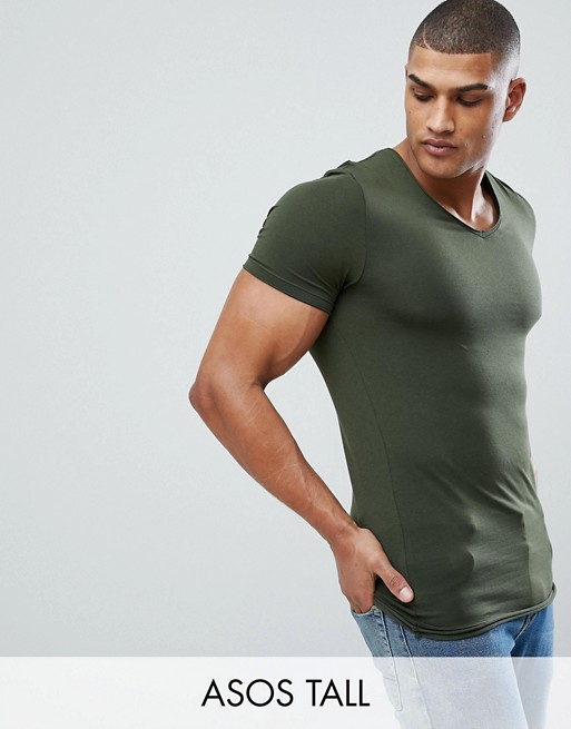 Image 1 of ASOS DESIGN Tall muscle fit t-shirt with raw edge rounded v neck in green
