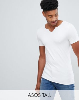 ASOS DESIGN Tall muscle fit t-shirt with raw notch neck in white