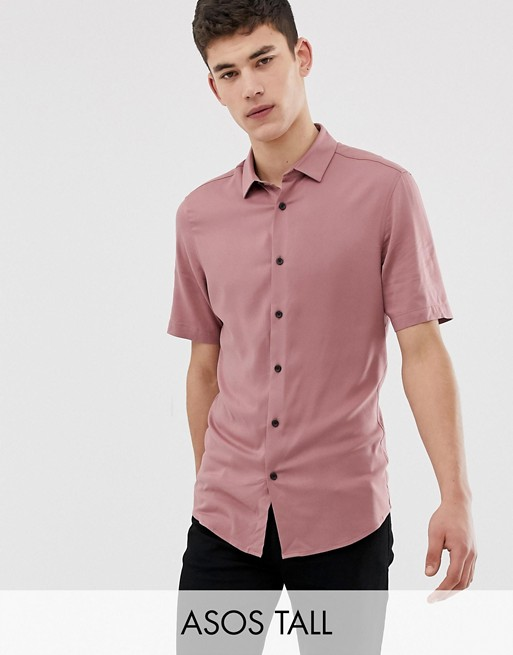 ASOS DESIGN Tall muscle viscose shirt in pink