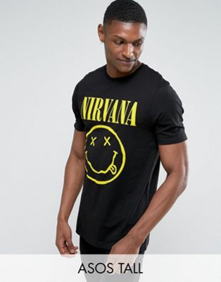 ASOS DESIGN Tall Nirvana longline band t-shirt with face print