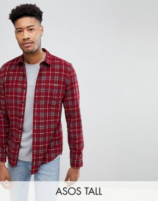 ASOS DESIGN TALL Oversized Cord Check Shirt