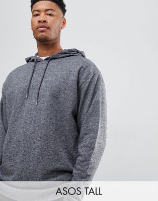 ASOS DESIGN tall oversized hoodie in charcoal interest fabric
