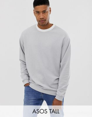 Image 1 of ASOS DESIGN Tall oversized sweatshirt in reverse loopback with contrast neck in grey