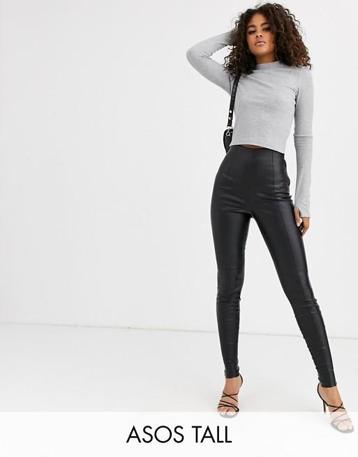 ASOS DESIGN Tall - Pantalon en similicuir effet vaporisé 3o9q4N