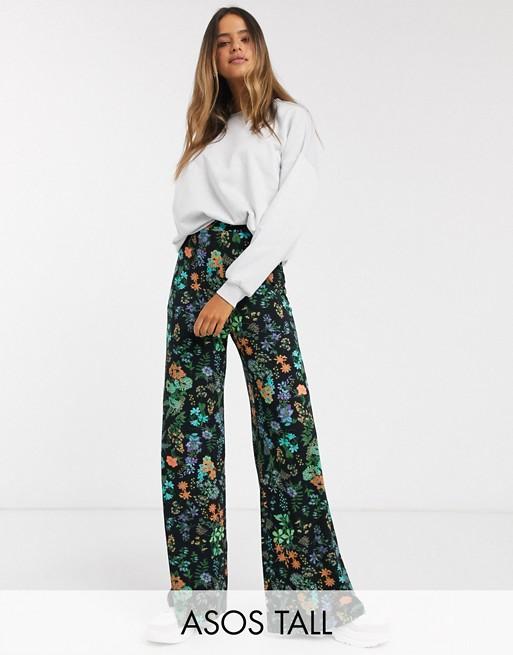 ASOS DESIGN Tall - Pantalon large à fleurs Pantalons et leggings femme