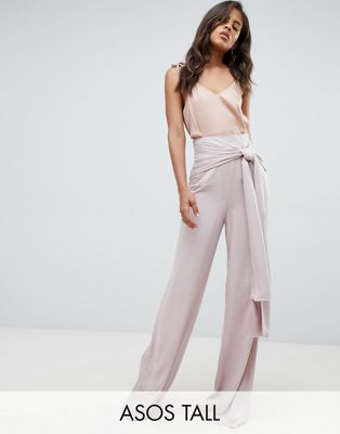 ASOS DESIGN Tall - Pantalon large et oversize pour grandes occasions et noué sur le devant