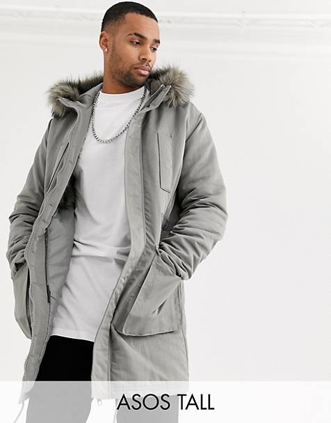 ASOS DESIGN Tall parka jacket in gray with faux fur lining