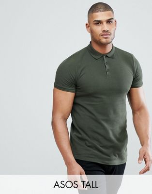 ASOS DESIGN Tall pique polo in green