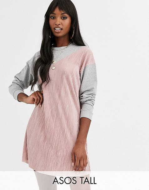 ASOS DESIGN Tall plisse mix sweat dress