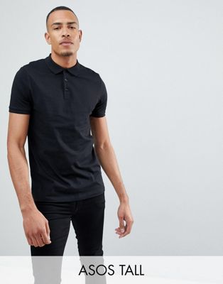 ASOS DESIGN Tall Polo Shirt In Black