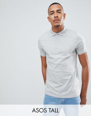 ASOS DESIGN Tall polo shirt in grey marl