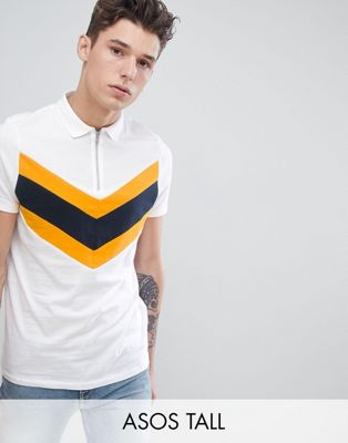 ASOS DESIGN Tall polo shirt with chevron cut and sew in white