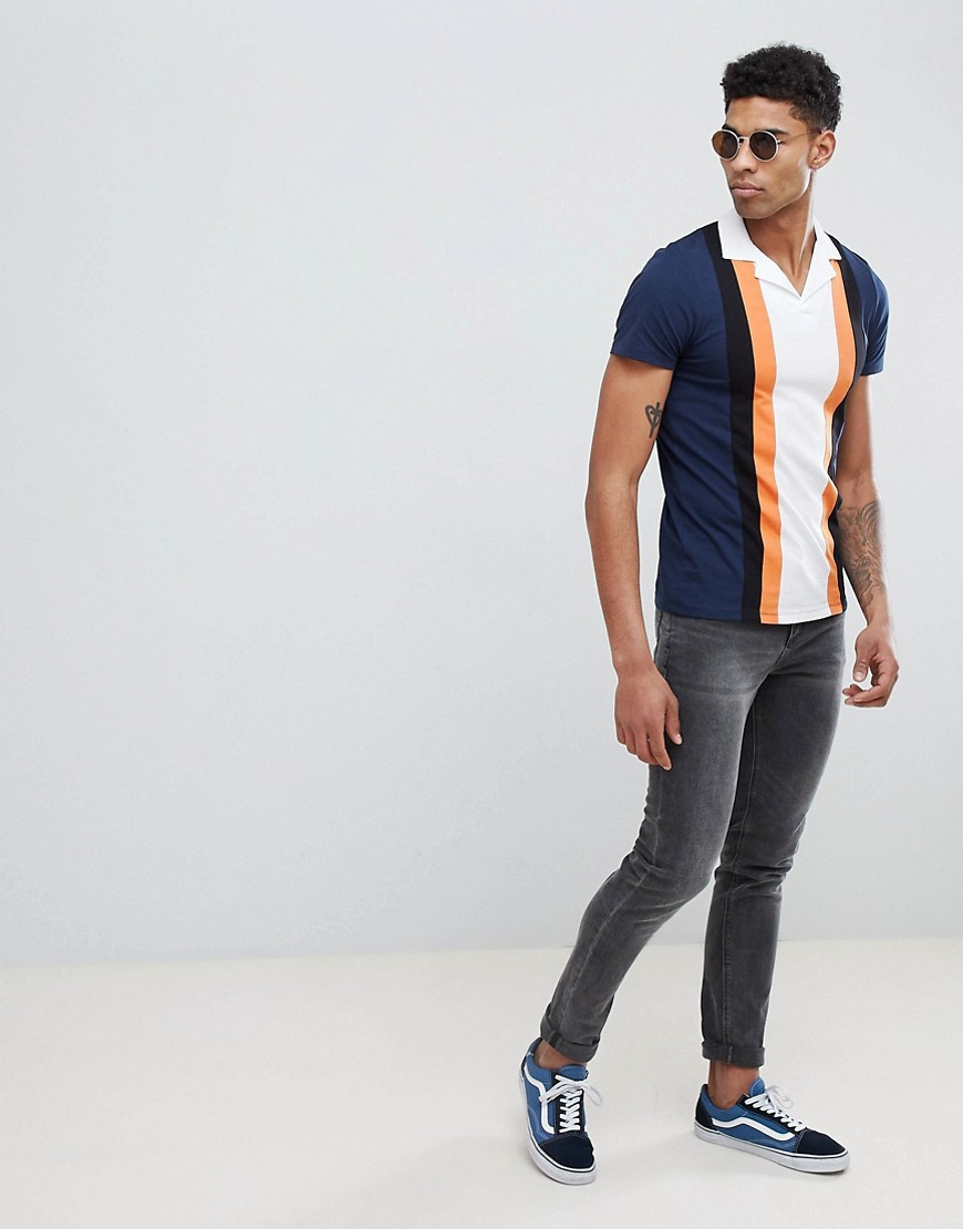 Asos Design Tall Polo Shirt With Retro Vertical Panels And Revere Collar by Asos Design