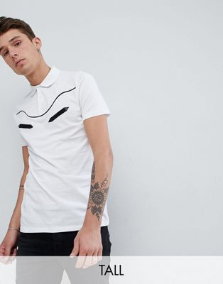 ASOS DESIGN Tall polo shirt with western piping in white