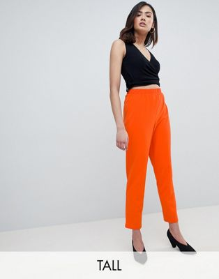 Image 1 of ASOS DESIGN Tall pull on tapered pants in jersey crepe