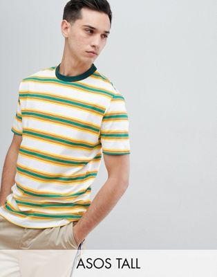 ASOS DESIGN Tall – Randig avslappnad t-shirt i retrostil
