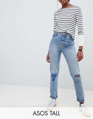 ASOS DESIGN Tall Recycled Ritson rigid mom jeans in divinity rich mid blue wash with rip & repair detail
