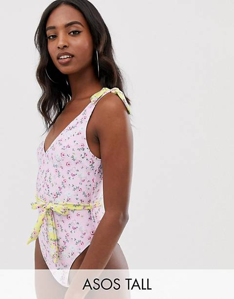 ASOS DESIGN Tall recycled tie shoulder belted swimsuit in pretty pastel floral print