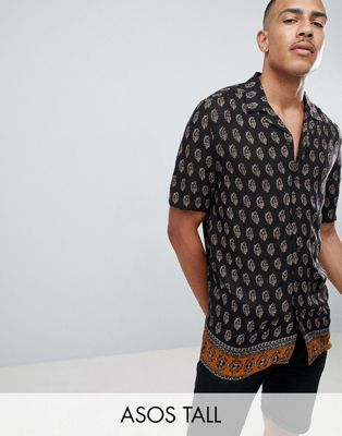 Image 1 of ASOS DESIGN Tall regular fit paisley shirt with border hem in black