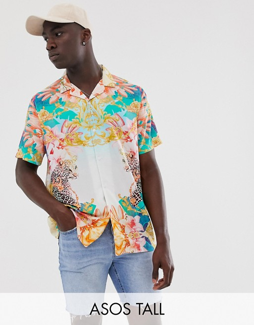 ASOS DESIGN Tall relaxed placement shirt with leopard baroque