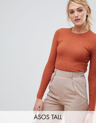 ASOS DESIGN Tall ribbed sweater in fine knit