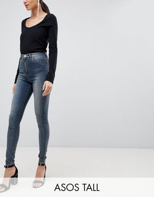 ASOS DESIGN Tall Ridley high waist skinny jeans in linka vintage blue wash