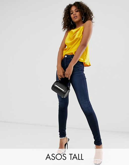 ASOS DESIGN Tall Ridley high waisted skinny jeans in blackened blue wash
