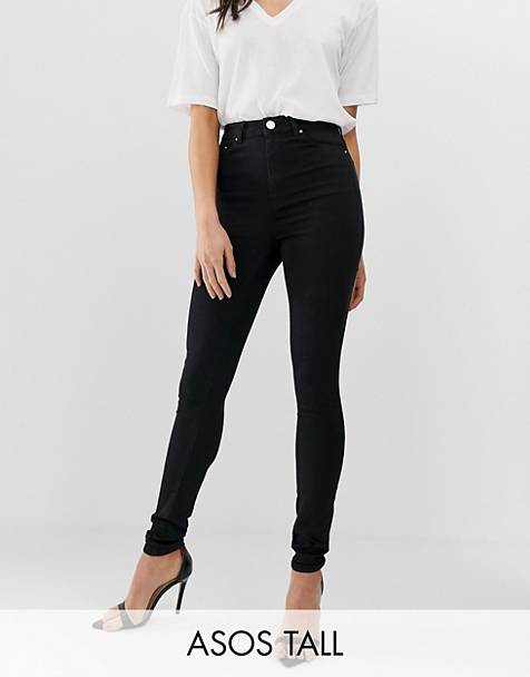 ASOS DESIGN Tall Ridley high waisted skinny jeans in clean black